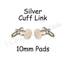 50 Cufflinks Cuff Link Silver Blanks Findings - 10mm Pads