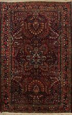 Antique Floral Traditional Sarouk Area Rug Classic Hand-Made Oriental Carpet 3x5
