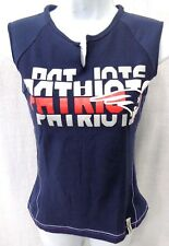 New England Patriots Football Ladies Fitted Sleeveless Shirt Navy New Junior Fit