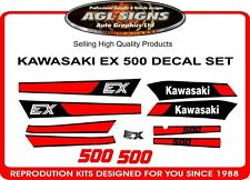 1987 - 1993  KAWASAKI EX500  Reproduction Black Decal Set     EX 500 NINJA GPZ