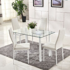 White Glass Dining Table and 4 Chairs PU Leather Chairs Rectangle Glass Table