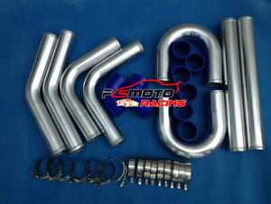 """2.5"""" INCH 64MM ALUMINUM TURBO INTERCOOLER PIPING KIT UNIVERSAL PIPES CLAMP BLUE"""
