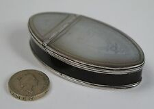 Georgian silver MOP and faux tortoiseshell navette snuff box c1780-95
