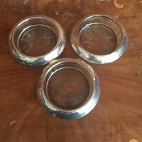 Vintage Frank M. Whiting Co. Sterling Rim Glass Ashtrays Coasters Set of 3