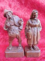 2 Bella Figure di Legno, Nonna e Nonno, Legno Intagliato, Alto Adige