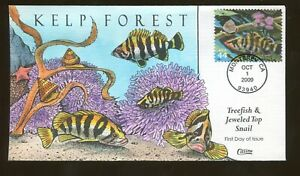 2009 Monterey California - Kelp Forest - Treefish Jeweled Top Snail -Collins FDC