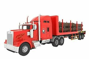 Big Rig Heavy Duty Tractor Trailer Lorry Truck Transport Lumber Kids Toy NEW