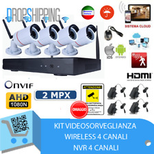 KIT VIDEOSORVEGLIANZA WIRELESS FULL HD IP 4 TELECAMERE 2 MPX WIFI DA REMOTO