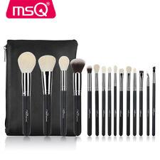 MSQ 15Pcs Makeup Brushes Sets Powder Eyeshadow Brush Soft Natural Hair  + PU Bag