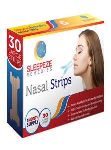 Sleepeze Remedies 30 Pack Large Nasal Nose Strips Anti Snoring Stop Snoring