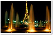 Eiffel Tower at Night PARIS France Travel Print POSTER