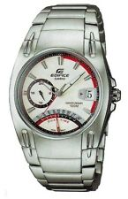 Casio EF319D-7A Edifice Mens Stainless Steel Dual Time Dress Watch WHITE Dial