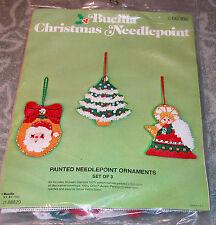 Vintage Bucilla Needlepoint Christmas Ornaments Kit Tree Santa Angel NIP