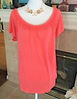 Womens Old Navy Off The Shoulder Soft & Sexy Coral T Shirt Top NWT $19 Sz XL