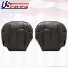 99 - 02 Silverado Sierra Driver & Passenger Bottom Leather Seat Covers Black