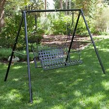 Black Cross Weave Patio Hanging Swing Stand Set Outdoor Home Furniture Poolside