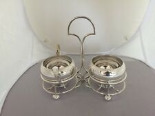 NICE SILVER PLATED MILK JUG & SUGAR BOWL ON A SILVER PLATED STAND ON 4 BALL FEET