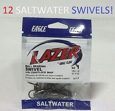12  Lazer Sharp Sz.1 Ball Bearing Swivels w/ Coastlock Snap(SLBBCLBK-1) EB190101