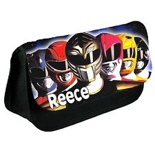 Personalised Power rangers Kids School black Pencil Case/Make Up Bag