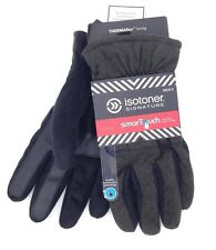 $178 ISOTONER MEN BLACK GRAY CASUAL SMARTOUCH WARM DRIVING WINTER GLOVES SIZE XL