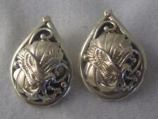 "SIGNED ""S"" SOUTHWESTERN STERLING SILVER EAGLE LEAF VINE PIERCED EARRINGS"