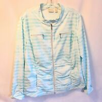 Zenergy by Chico's Size 2 (12) Blue & White Striped Lightweight Zip Up Jacket