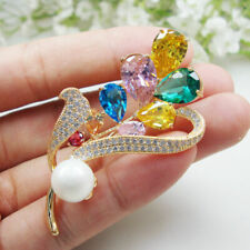 Woman Multi-color Brooch Pin High Quality New Zircon Crystal Pretty Flower Pearl