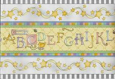 Baby Alphabet, Stars Nursery/Kids Room- 30 FEET WALLPAPER BORDER