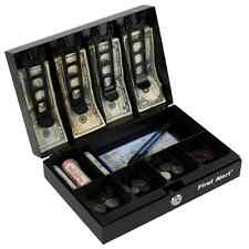 Locking Cash Lock Register Box Money Tray Storage Safety Steel Portable Home