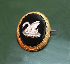 Wunderbare antike PIETRA DURA-BROSCHE m. SCHWAN • Italien ~1860 • 375er Gold