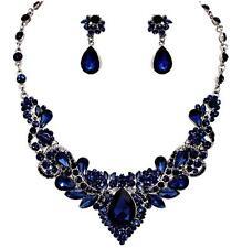 Montana Navy Sapphire Blue Crystal Necklace Set Elegant Evening Wedding Jewelry