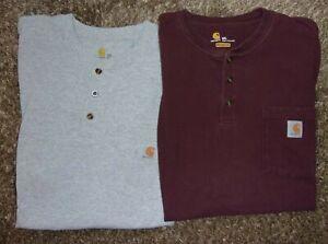 (2) Men's CARHARTT Henley Original Fit Short Sleeve Shirts - 2XL