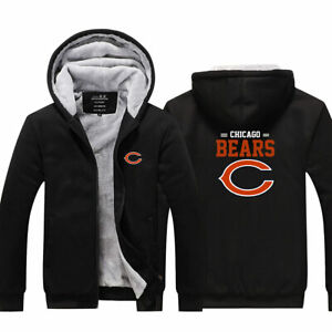 Chicago Bears Hoodie Thicken Fleece Coat Winter Hooded Jacket Sweatshirt Gifts