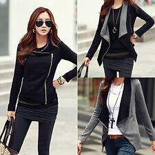 Womens Slim Fit Blazer Coat Black Zip Up Casual Long Sleeve Biker Jacket Tops