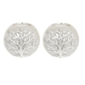 Silver Tealight Holders x2 Tree of Life Balls Decorative Ornaments Home Deco