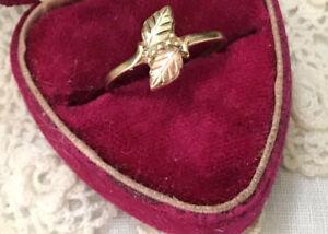 10K Vintage Black Hills Gold Leaf Ring Designer C.C.O.