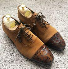 Genuine Gucci Nubuck Snakeskin Leather Tip Brown Mens Shoe UK8 EU42 US8.5