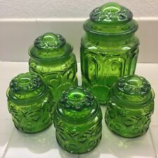 Merveilleux Green Jars Glass Vintage Lids Canister Lot Of 5 Set Deco Home Kitchen