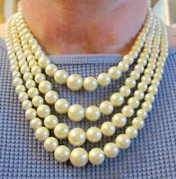 Vintage 18 inch 4 Strands Adjustable Imitation White Pearl Beaded Necklace (70