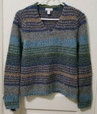 Womens Charter Club Pullover Sweater S Small Green Blue Tan Striped WOOL Blend