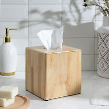 Decorative Rubberwood Wood Tissue Cover/Holder Square Box for Bathroom