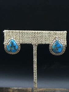 Barse Sanibel Clip Earrings- Turquoise & Molten Bronze- New With Tags