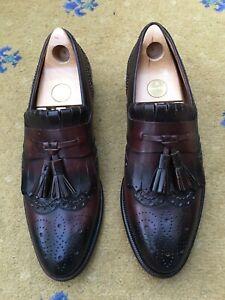 Gucci Mens Shoes Brown Leather Loafers UK 8 US 9 42 Tassel Script Fringe Welted