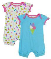 Girls Playsuits Baby Toddler 2 Pack Value Ice Cream Rompers 6 Months to 3 Years