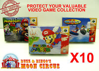 10x NINTENDO 64 N64 CIB GAME BOX - CLEAR PROTECTIVE BOX PROTECTOR SLEEVE CASE