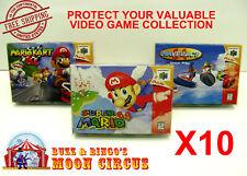 10x NINTENDO 64 N64 CIB GAME BOX - CLEAR PROTECTIVE BOX PROTECTOR SLEEVE CASE