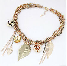 Fashion Retro Leaf Water Drop Tassel Chain Flower Pendant Chunky Choker Necklace