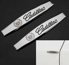 2x CADILLAC Chrome Metal Car Trunk Side Fenders Door Emblem Badge Decal Sticker