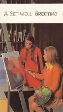 Get Well Soon Vintage 1970's Greeting Card ~ Oil Painting Artists Easel