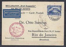 29# Zeppelinbrief Mi 438Y EF Postkarte n. Rio de Janeiro, 1. Südamerikafahrt